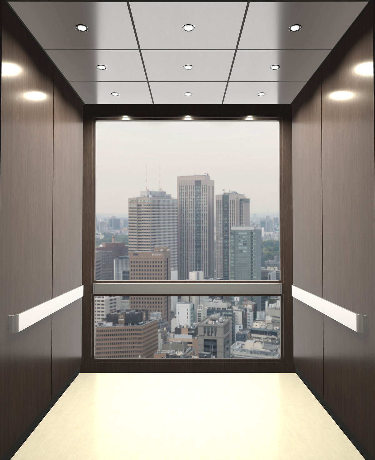 Rendered view of Design 1 elevator