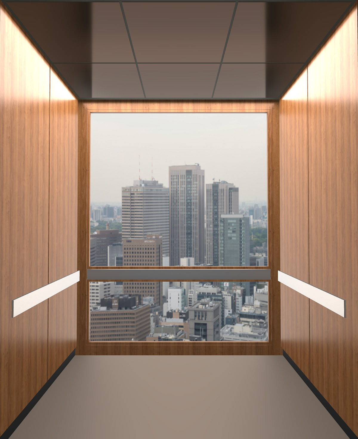 Rendered view of Design 6 elevator