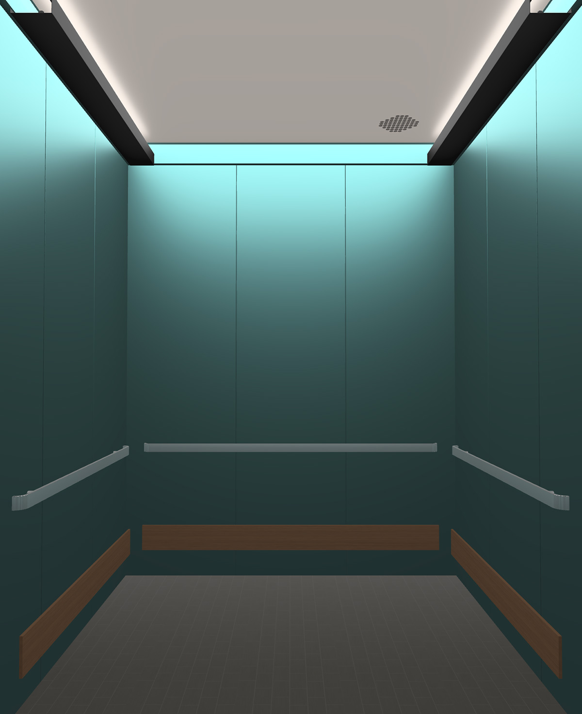Rendered view of Design 8 elevator